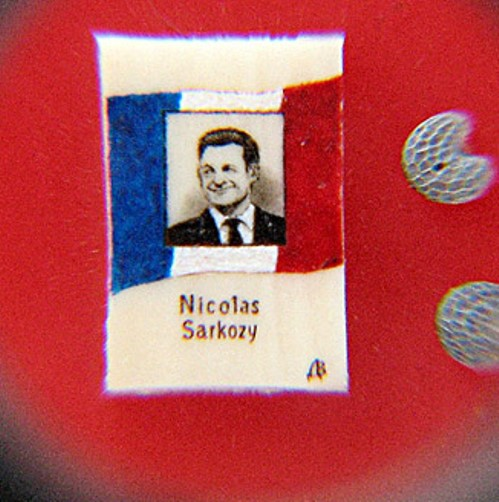 Nicolas Sarkozy. Paintings on poppy seeds by Valery Dvoryanov