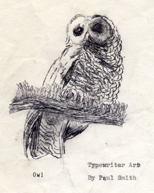 Owl. Typewriter Art by Paul Smith - Father of ASCII art