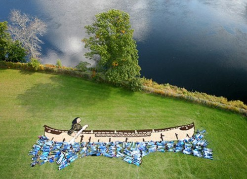 Painting created with aerial photography by American environmental artist Daniel Dancer