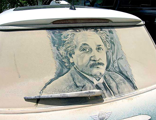 Scott Wade's drawings on dirty rear car windows