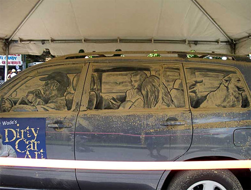 Painting on a dirty rear car windows by American artist Scott Wade
