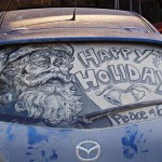 Happy Holiday! Painting on a dirty rear car windows by American artist Scott Wade