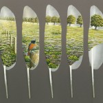 Landscape with a bird. Painting on swan feather by British artist Ian Davey