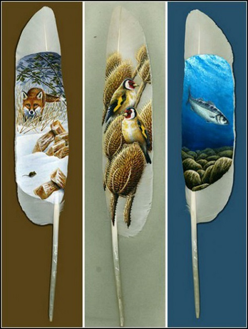 Painting on swan feather by British artist Ian Davey