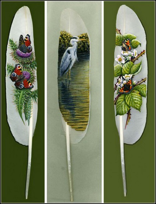 Ian Davey painting on swan feather