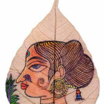 Paintings on Peepal leaves