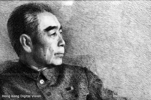 Portrait embroidered with human hair, made by Chinese master Zhang De Chun