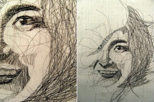 Portrait embroidered with human hair, made by Colombian artist Zaira Pulido