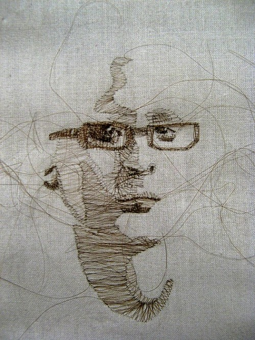 Human hair embroidery