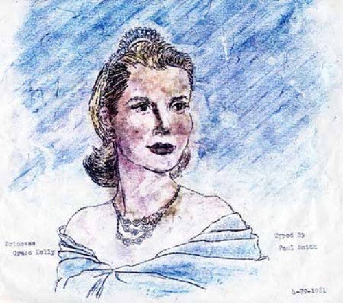 Princess Grace of Monaco. Typewriter Art by Paul Smith