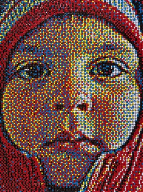 Pushpin mosaic portrait by American artist Eric Colin Daigh