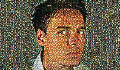 Pushpin self-portrait by American artist Eric Colin Daigh