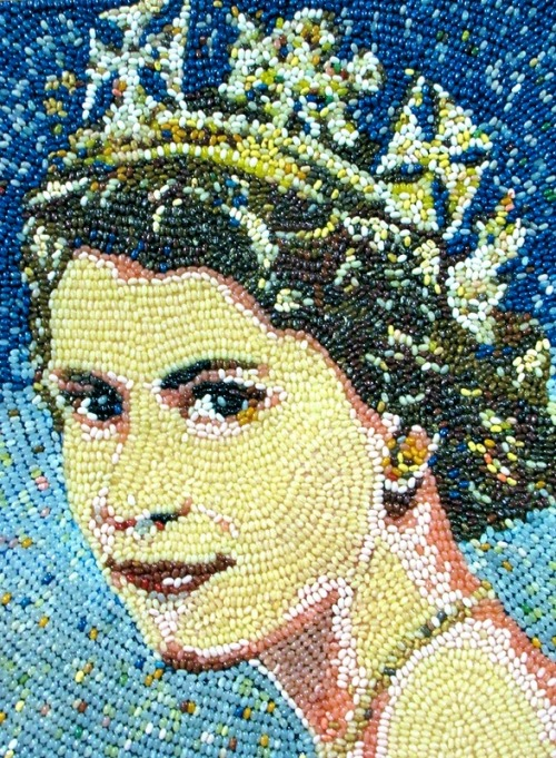 Peter Rocha Jelly Beans Art. Queen Elizabeth II Jelly Bean Mosaic