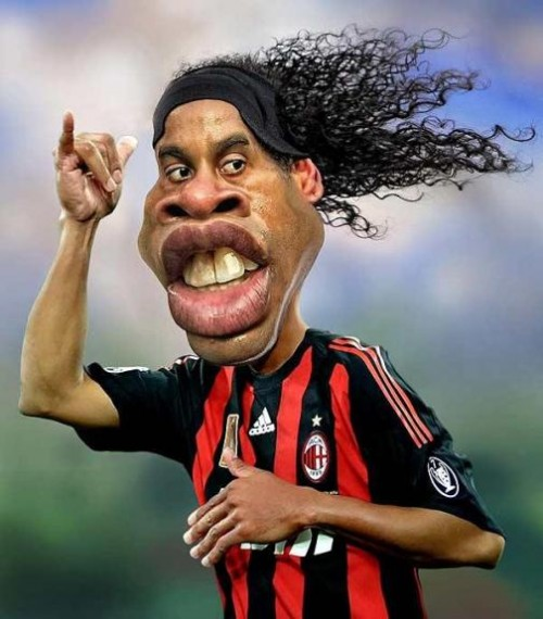 Ronaldinho. Caricatures by Rodney Pike