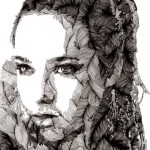 Beautiful woman's portrait. Rotring pen Drawing by Russian artist Vasily Godzh
