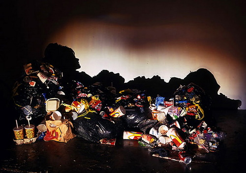 Rubbish Shadow Art by British artists Tim Noble and Sue Webster