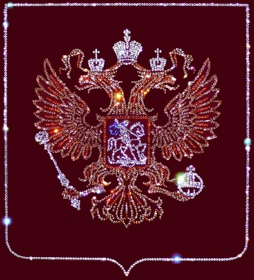 Russia coat of arms. Painting decorated with Swarovski crystals