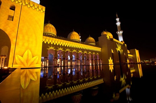 Sheikh Zayed Grand Mosque Glowing