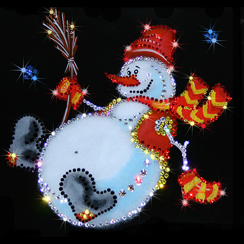 Snowman, Painting decorated with Swarovski crystals