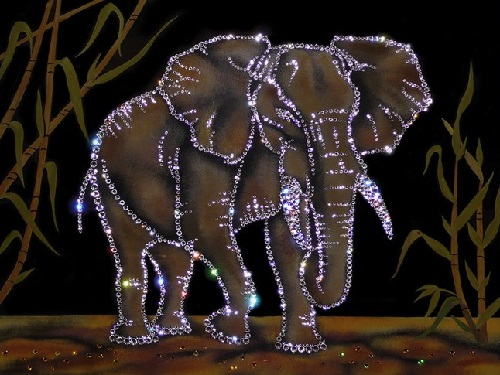Thai elephants. Swarovski crystals pictures