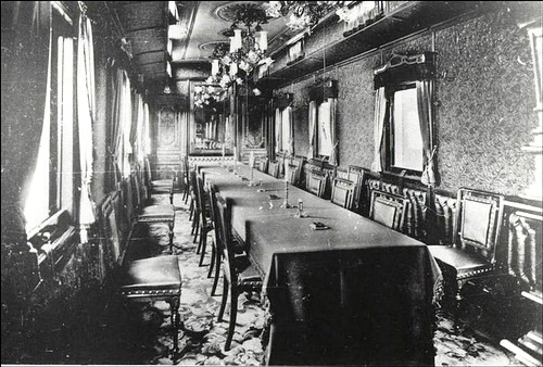 Russian Emperors train. The cars were painted in dark blue and decorated with gilding