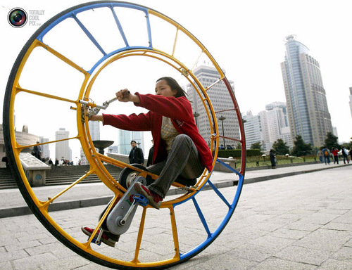 The unicycle was designed several years ago by Chinese inventor Li Yongli who called it the number one vehicle in the world