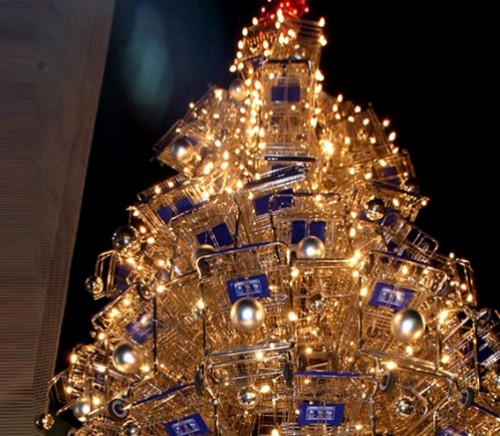 This beautiful Christmas tree is made of 86 metal shopping carts