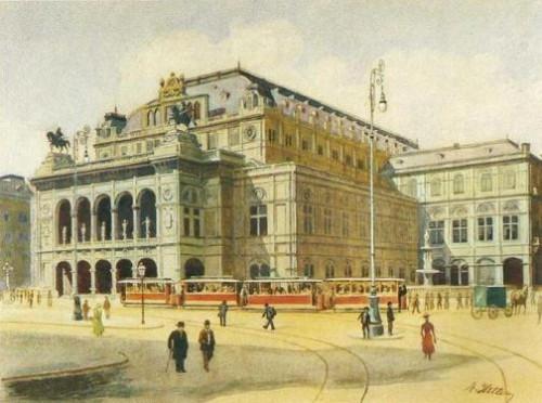 Adolf Hitlers paintings. Vienna State Opera in 1912