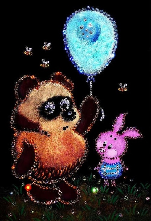 Winnie the Pooh, Russian cartoon. Swarovski crystals pictures