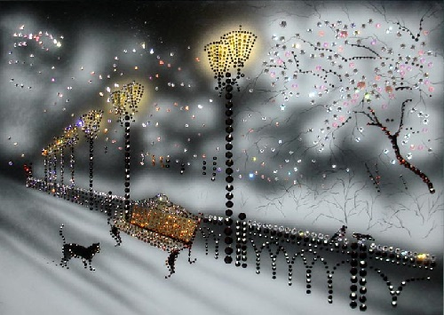 Winter. Painting decorated with Swarovski crystals