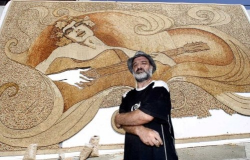 Largest Cork Mosaic - the guitar player by Albanian mosaic artist Saimir Strati