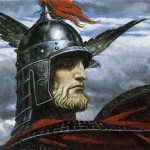 Ancient Russian warrior. Painting by Russian artist Konstantin Vasilyev