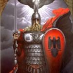 Defender of motherhood. Painting by Russian artist Konstantin Vasilyev