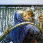 Winter love. Painting by Russian artist Konstantin Vasilyev