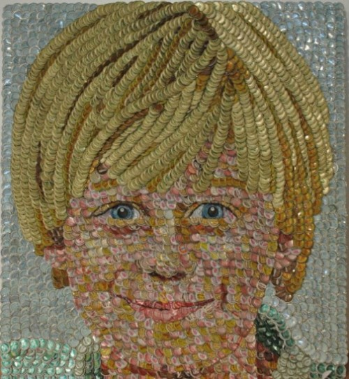 Bottle caps mosaic portrait by American self-taught artist Molly B. Right