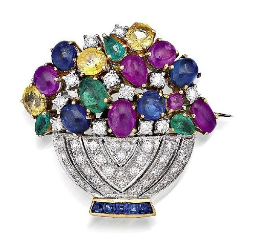 brooch with sapphire