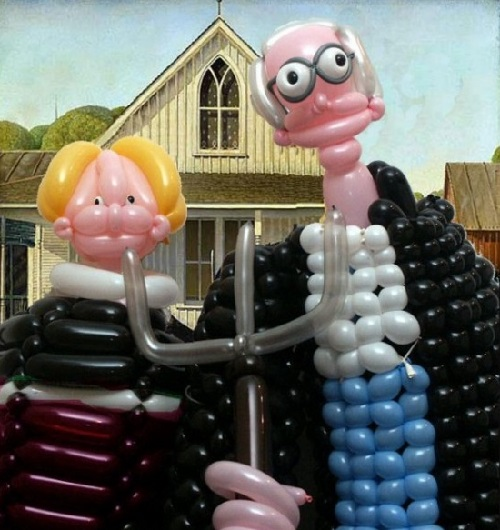 American Gothic. Balloons copies of famous paintings by Larry Moss