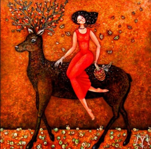 Apple deer. Beautiful Paintings by artist Marina Hinze