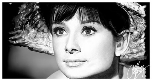 Audrey Hepburn Painting. Celebrity Portraits created with iPad. English artist Kyle Lambert