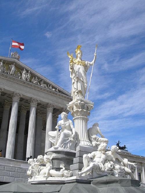 Vienna ranks highest for quality of living. Austria Parliament Athena