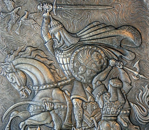 Battle (panels, fragment). Metal art by Russian artist Victor Morozov