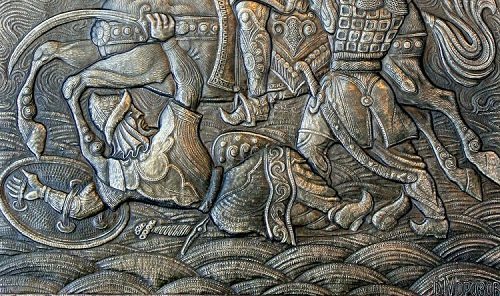 Battle (panels, fragment 2). Metal art by Russian artist Victor Morozov