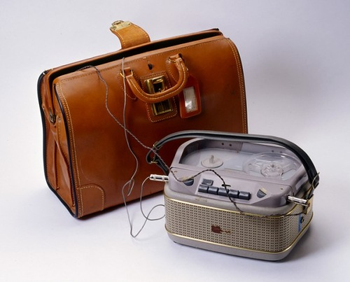 Briefcase Recorder. 1950s, CIA. This was one of the first portable recorders used to monitor conversations with visiting Soviet diplomats in the early years of the Cold War.