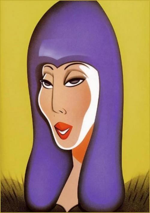 Cher. Caricatures of celebrities by American artist Robert Risko