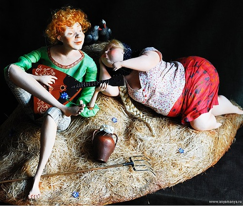 Cute dolls by Russian artists of applied art, twin sisters Anna and Maria