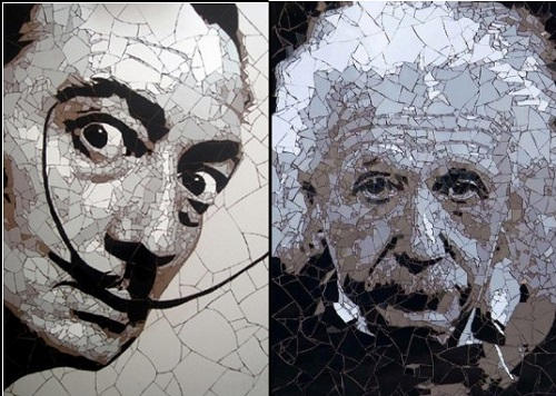 Salvador Dali and Albert Einstein Mosaic portraits by British artist Ed Chapman