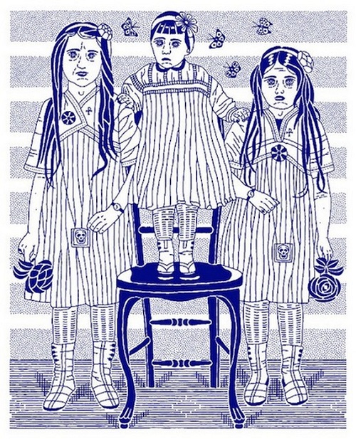 Daughters of the Dust, also called 'The Undertaker's Pale Children'. 2010, ink on paper. Blue and white paintings by Russian artist Dmitry Borshch