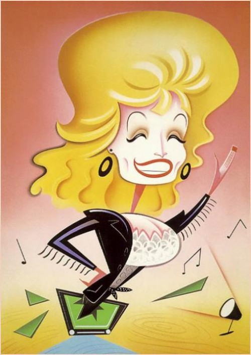 Dolly Parton. Caricatures of celebrities by American artist Robert Risko