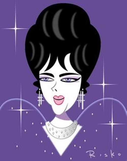 Elizabeth Taylor. Caricatures of celebrities by American artist Robert Risko