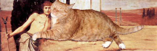 Fat cat Zarathustra in 'The Caress', painting by Belgian symbolist painter Fernand Khnopff
